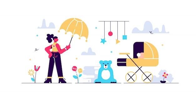 Babysitter illustration. winzige kinder kindergarten personen konzept. betreuung von neugeborenen und beruf als kindermädchen. pädagogische berufe arbeiten mit kinderspielzeug, kutsche und beobachten babysicherheit