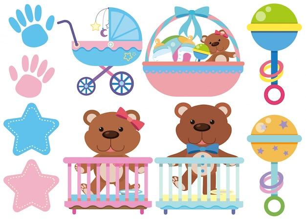 Babyspielwaren und -zubehör auf weißem hintergrund