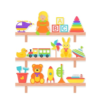 Babyspielzeug auf regal. . set kinderspielzeug. babymaterial auf dem holzregal lokalisiert. bunte karikaturillustration. sammlungskinderikonen in der ebene.