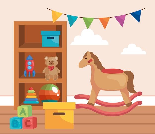 Babyspielzeug im spielzimmer