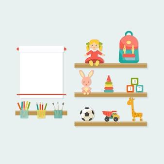 Babyspielzeugikonen im regal. ort der kreativität des kindes flat style vector illustration.