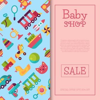 Babyspielzeugshopfahne in der flachen karikaturart. der markt für kinderspiele umfasst teddybär, pyramide und puppe