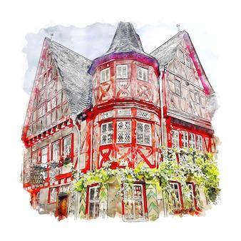 Bacharach deutschland aquarell skizze hand gezeichnete illustration