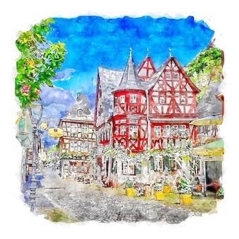 Bacharach deutschland aquarellskizze handgezeichnete illustration