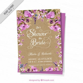 Bachelorette karte mit aquarellblumen