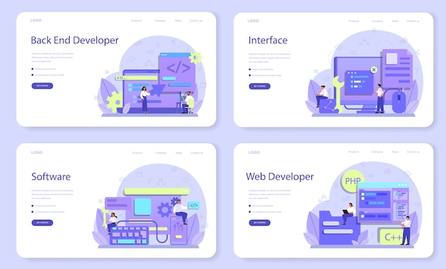 Back-end-entwicklungs-webbanner oder landingpage-set