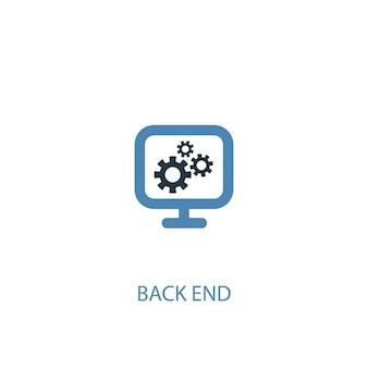 Back-end-konzept 2 farbiges symbol. einfache blaue elementillustration. back-end-konzeptsymboldesign. kann für web- und mobile ui/ux verwendet werden