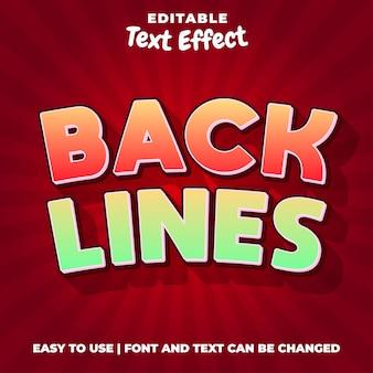 Back lines spieltitel bearbeitbarer texteffektstil