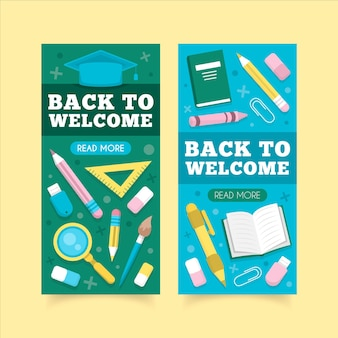 Back to school banner in flachem design