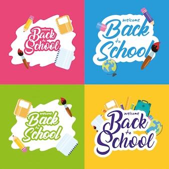 Back to school banner mit festgelegten schriftzügen und zubehör