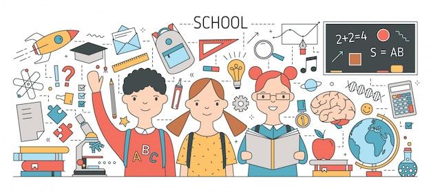 Back to school banner mit niedlichen glücklichen kindern oder schülern, umgeben von lehrbüchern, schreibwaren, wissenschafts-, studien- und bildungssymbolen.