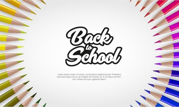 Back to school banner vorlage mit realistischem buntstift