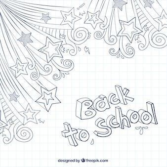 Back to school blau doodles