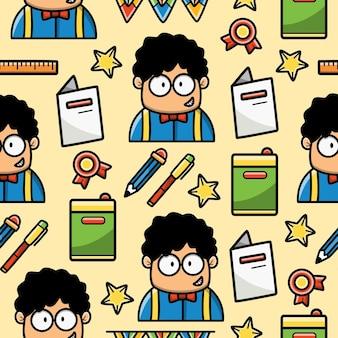 Back to school cartoon doodle nahtloses muster design