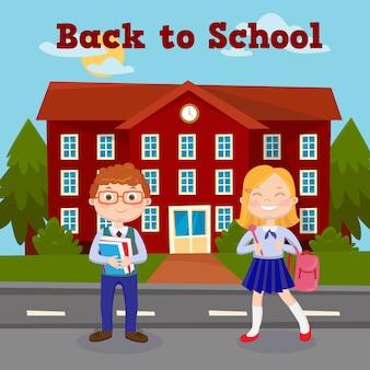 Back to school education-konzept mit schulgebäude und schülern.