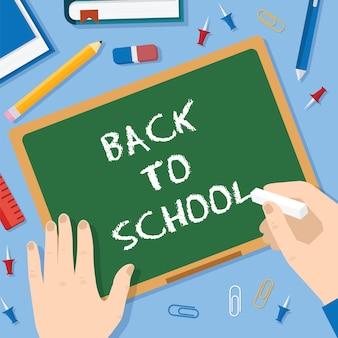 Back to school flat style tafel hintergrund mit kreidestiften clips pen pencil und bücher