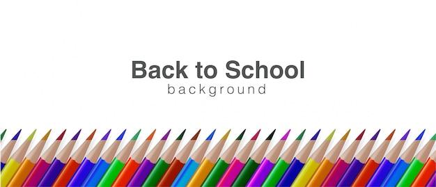 Back to school hintergrund mit realistischem buntstift