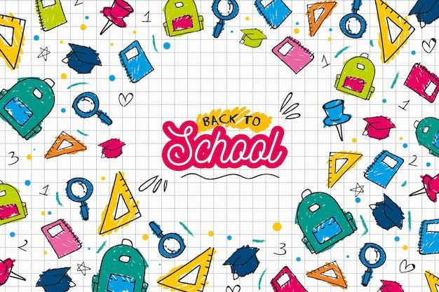 Back to school hintergrund zeichnen konzept