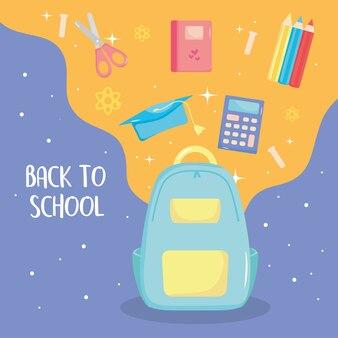 Back to school icons herum und schulrucksack
