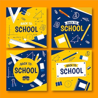 Back to school instagram beiträge in flachem design