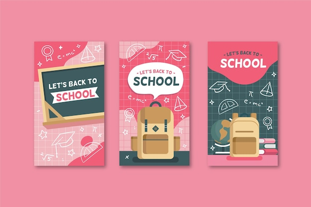 Back to school instagram geschichten in flachem design