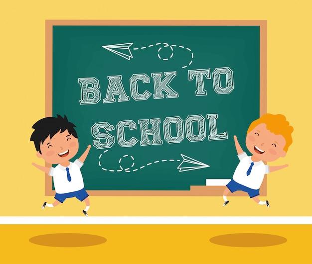 Back to school-karte mit jungen studenten