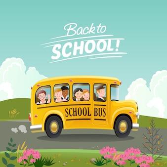 Back to school-konzept. karikaturschulbus mit den kindern, die zur schule gehen.