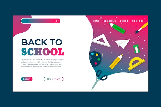 Back to school landing page style