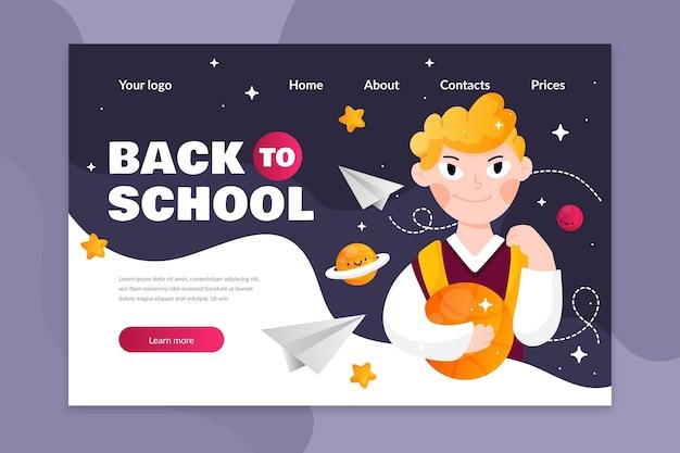 Back to school landing page vorlage illustriert