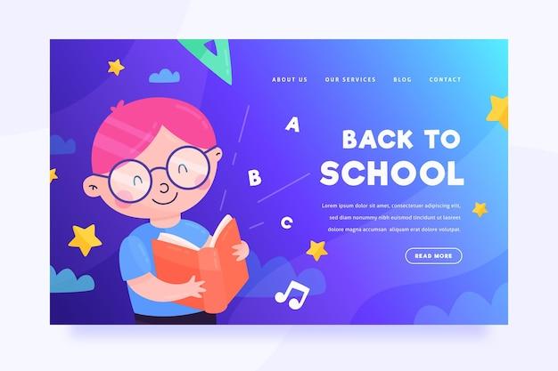 Back to school landing page vorlage mit charakter