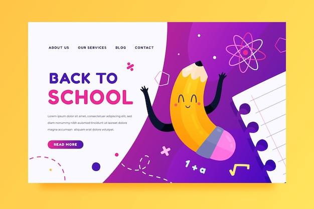 Back to school landing page vorlage mit schüler