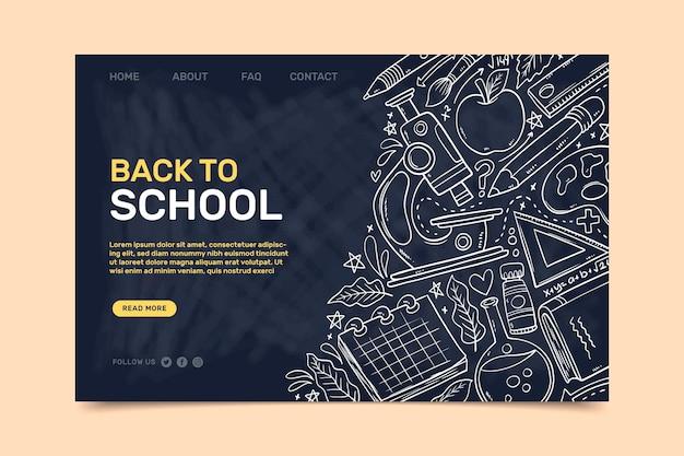 Back to school landing page vorlage mit weißen skizzen