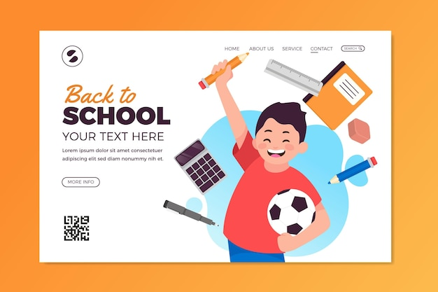Back to school landing page vorlage