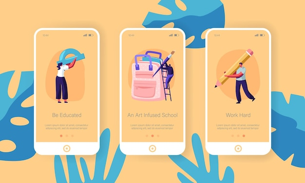 Back to school mobile app onboard-bildschirmsatz