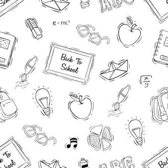 Back to school nahtlose muster mit doodle-stil