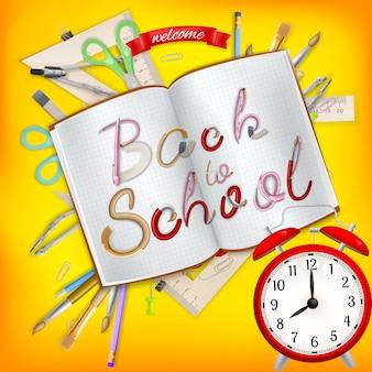 Back to school postkarte. büromaterial mit notizbuch. datei enthalten