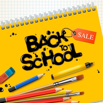 Back to school sale. design mit bunten stiften und gelbem notizbuch auf kariertem papierhintergrund, illustration.