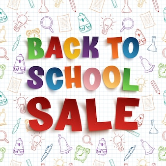 Back to school sale hintergrund auf karopapier mit handgezeichneten schulwerkzeugen. illustration.