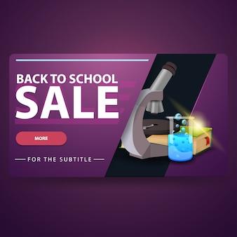Back to school sale, modernes volumetrisches 3d-web-banner für ihre website mit mikroskop