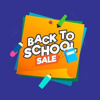 Back to school sale poster design mit pädagogischen elementen