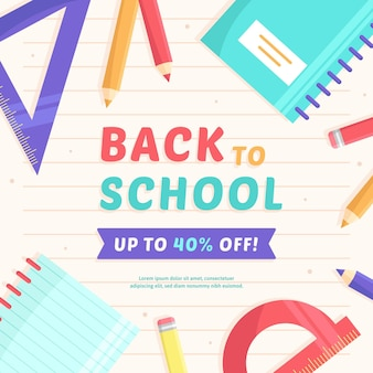 Back to school sale quadratisches banner