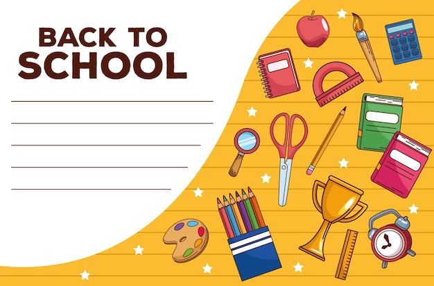 Back to school schriftzug mit set items