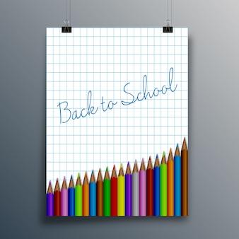 Back to school-schriftzug, papierblatt und bleistift