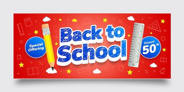 Back to school sonderangebot rabatt banner vorlage, blau, gelb, weiß, texteffekt, hintergrund