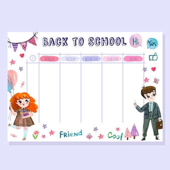 Back to school stundenplan aquarell