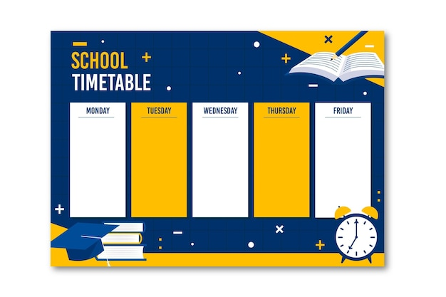 Back to school stundenplan flaches design