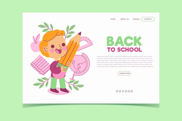 Back to school template landing page