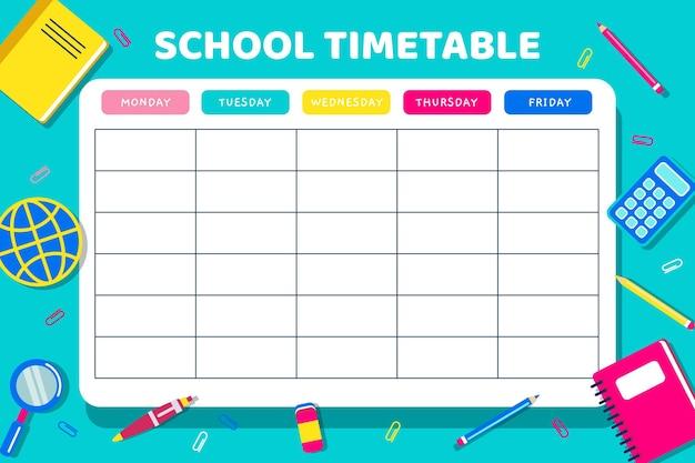 Back to school vorlage für stundenplan