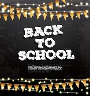 Back to school vorlage mit neongirlanden und flaggen. karte mit kopierplatz.