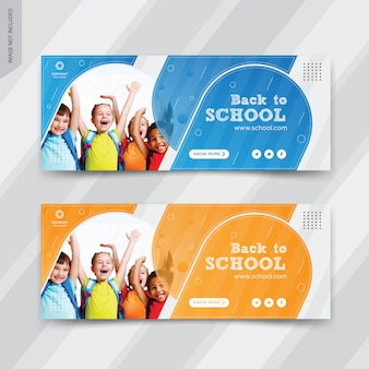 Back to school web banner vorlagen design